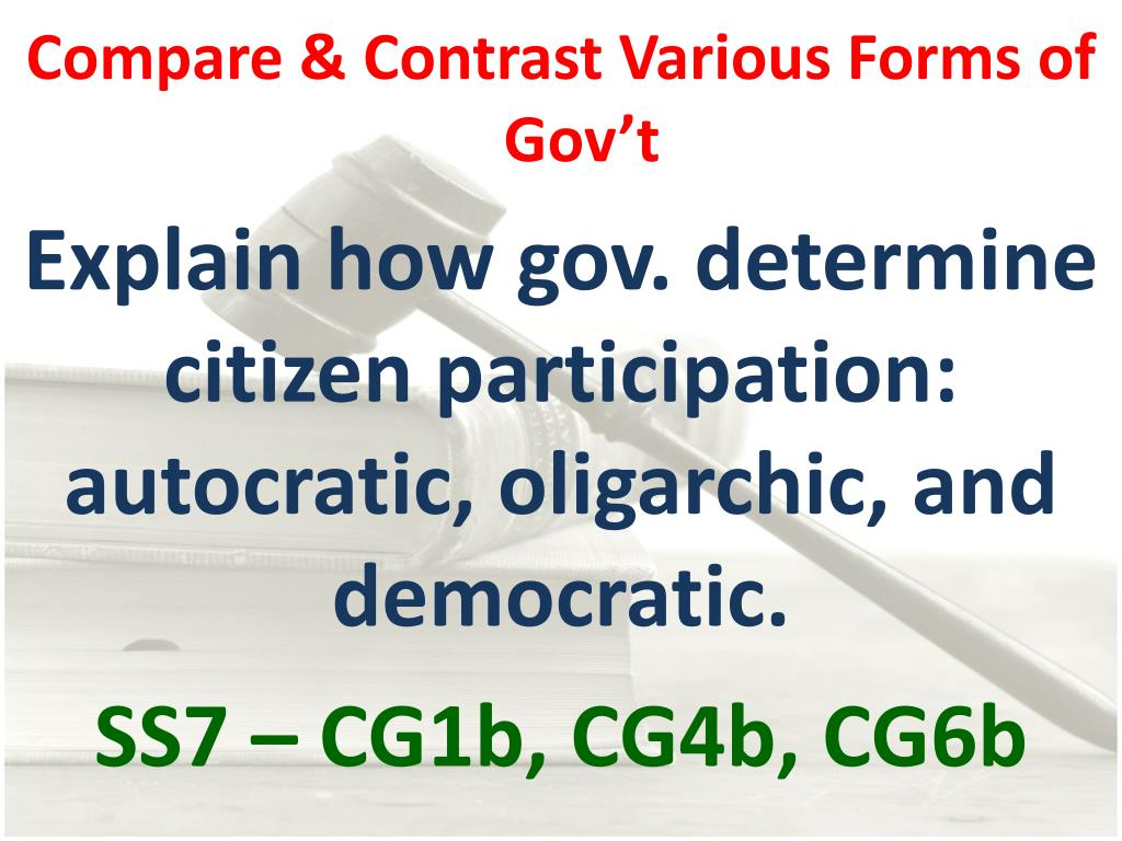 Compare & Contrast Various Forms of Gov't