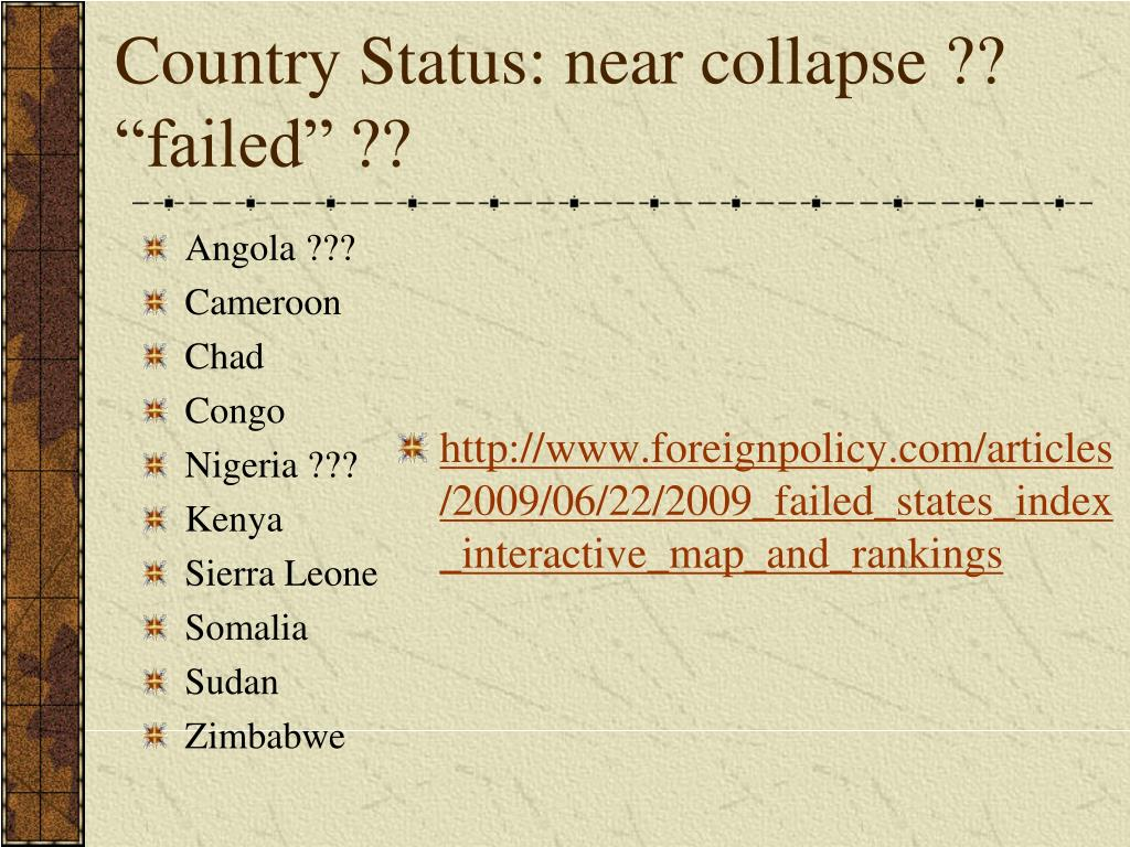 "Country Status: near collapse ?? ""failed"" ??"