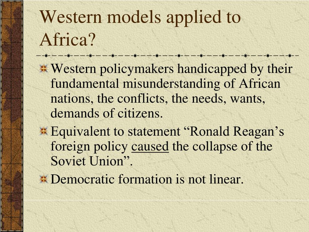 Western models applied to Africa?