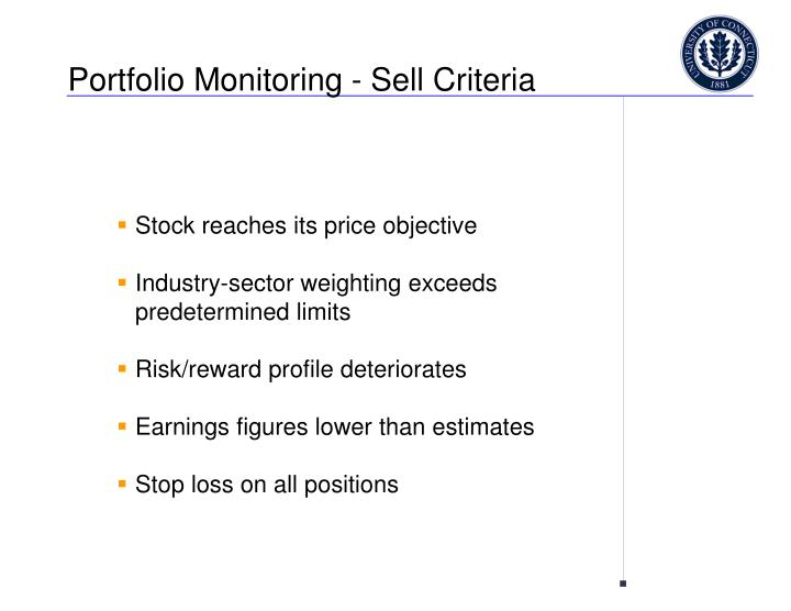 Portfolio Monitoring - Sell Criteria