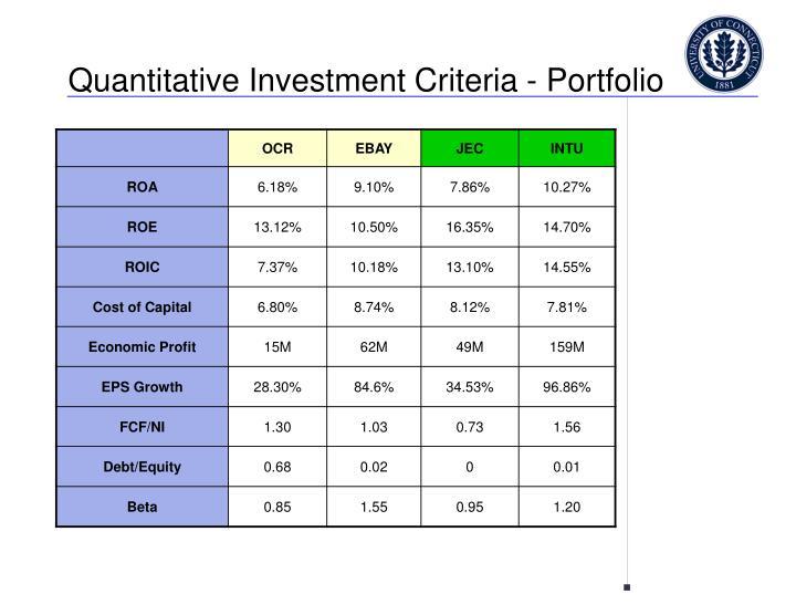 Quantitative Investment Criteria - Portfolio