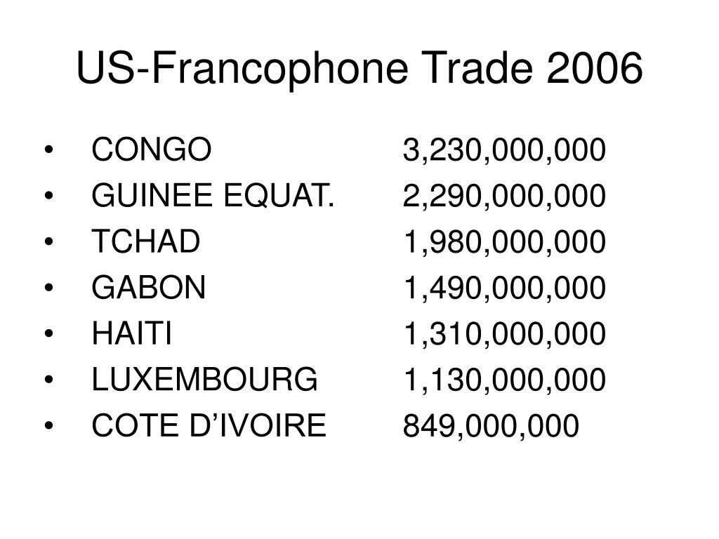 US-Francophone Trade 2006