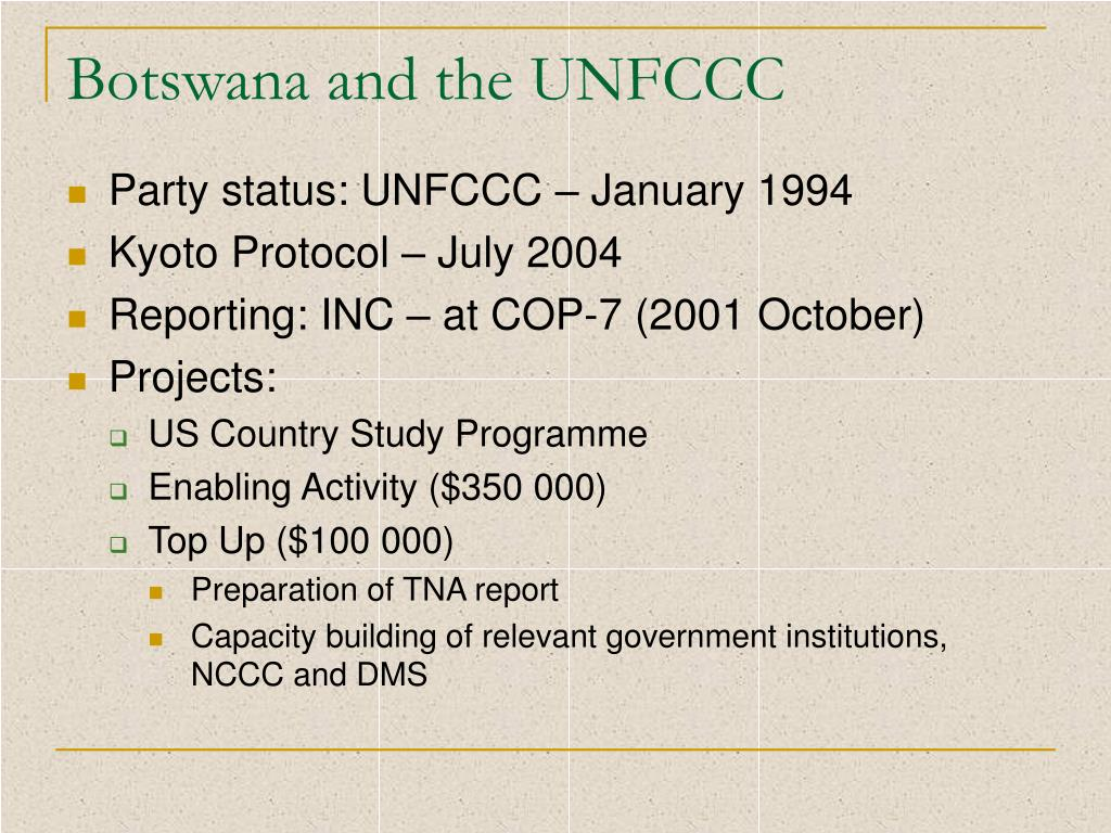 Botswana and the UNFCCC