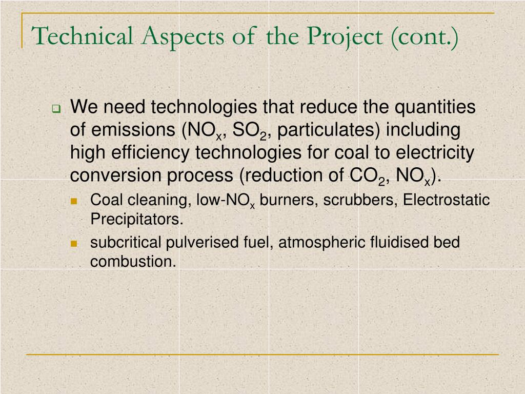 Technical Aspects of the Project (cont.)