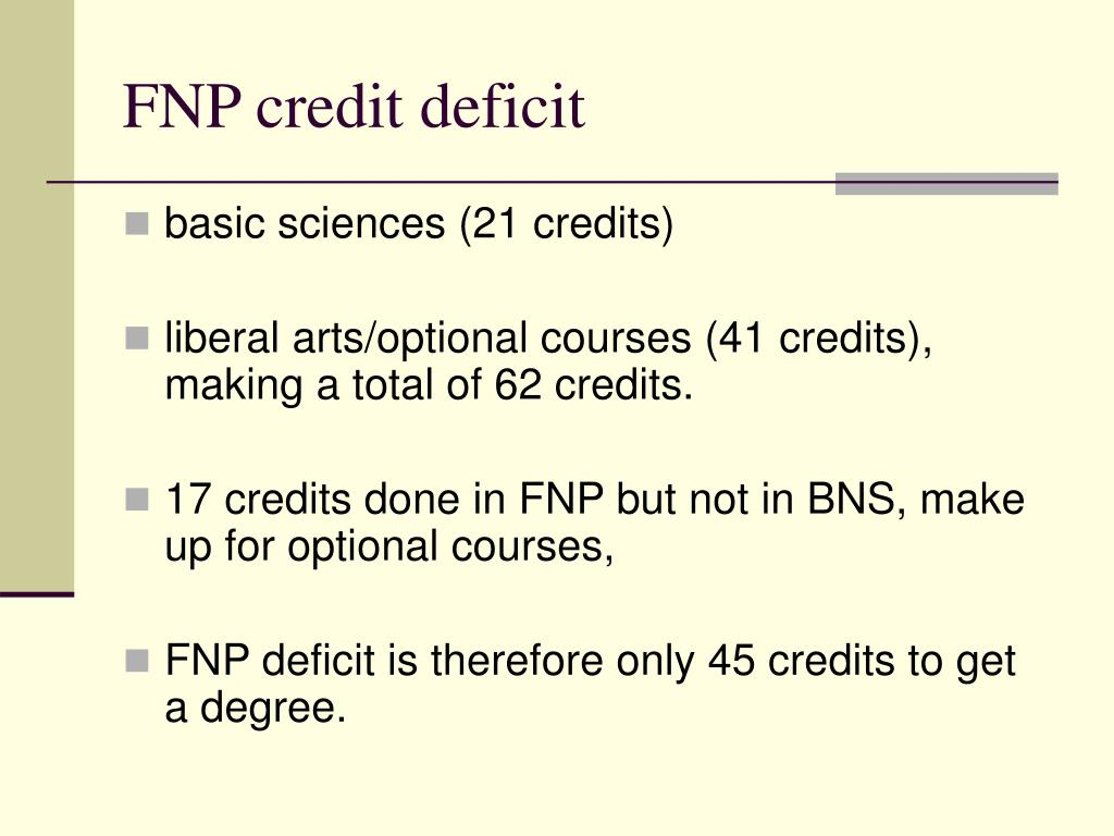 FNP credit deficit