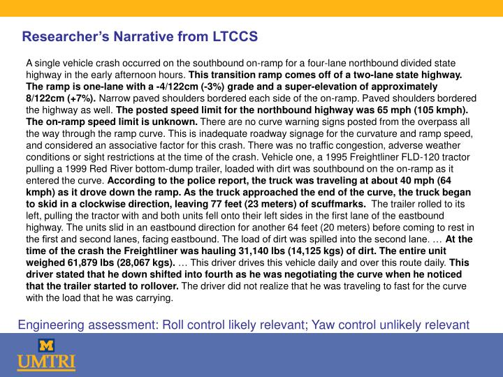 Researcher's Narrative from LTCCS
