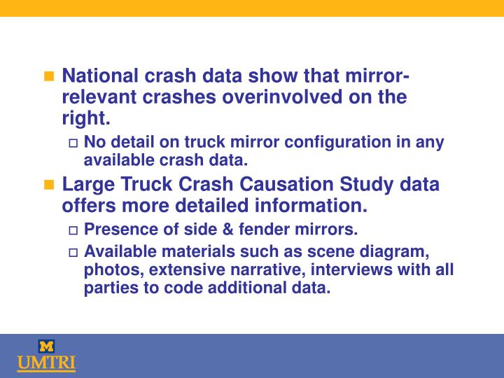 National crash data show that mirror-relevant crashes overinvolved on the right.