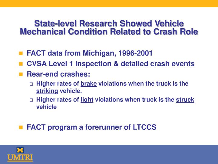 State-level Research Showed Vehicle Mechanical Condition Related to Crash Role