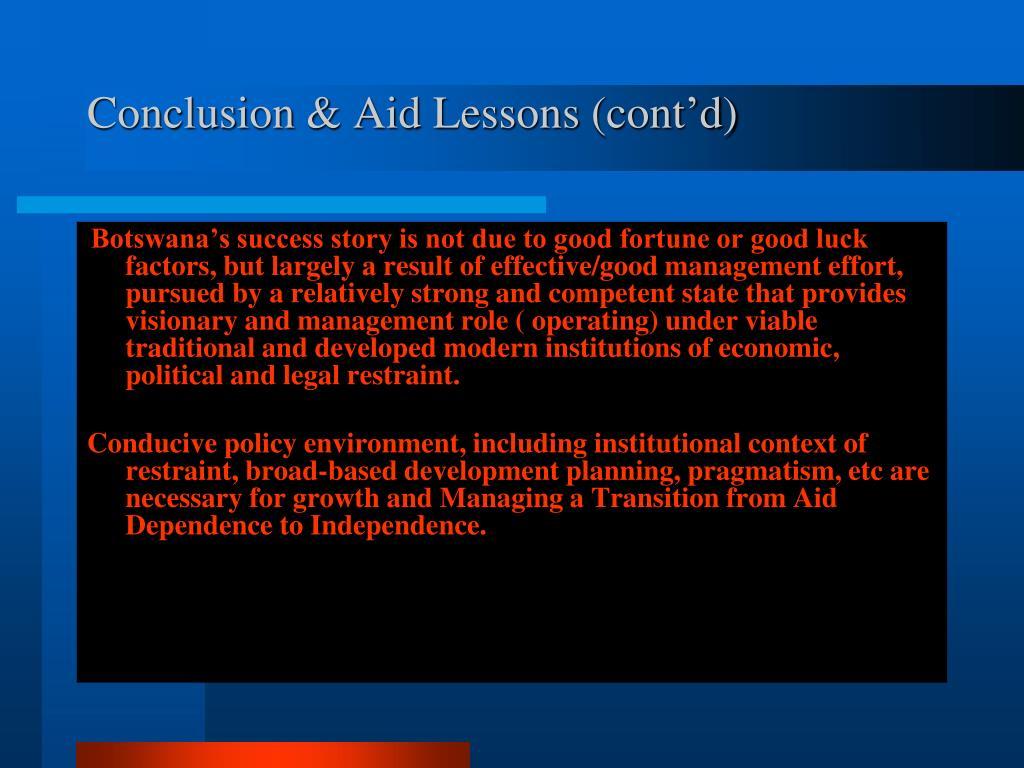 Conclusion & Aid Lessons (cont'd)