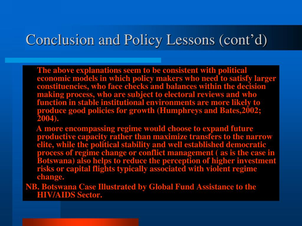 Conclusion and Policy Lessons (cont'd)