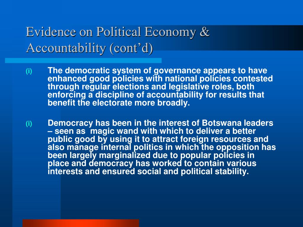 Evidence on Political Economy & Accountability (cont'd)