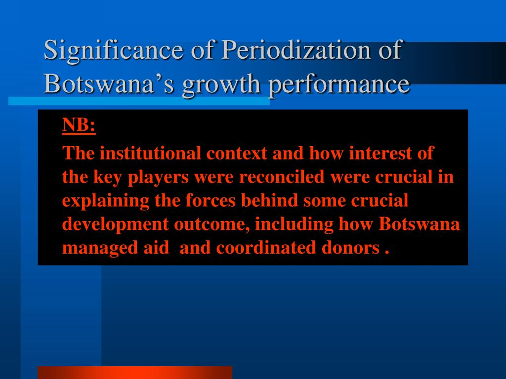 Significance of Periodization of Botswana's growth performance