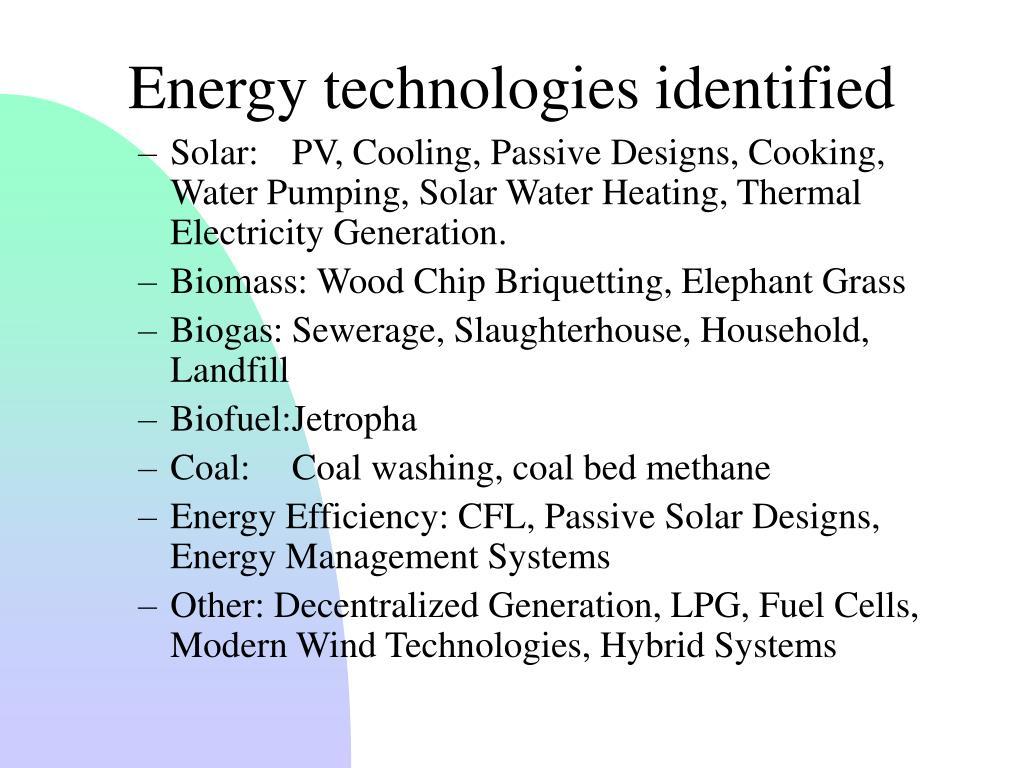 Energy technologies identified