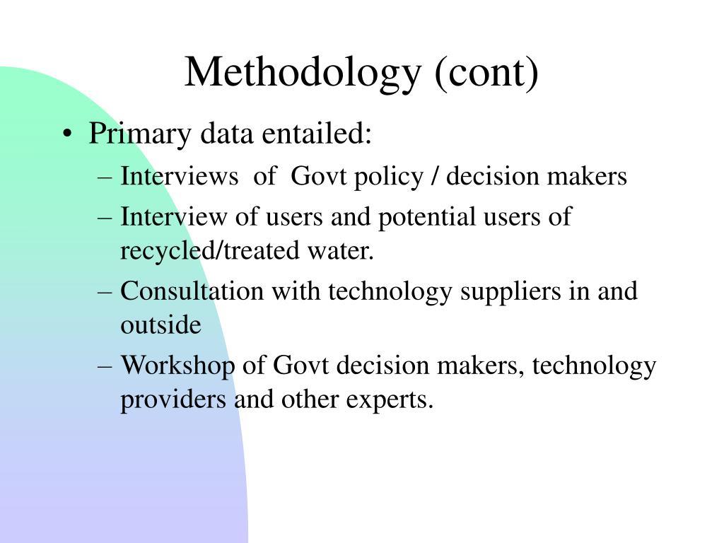 Methodology (cont)