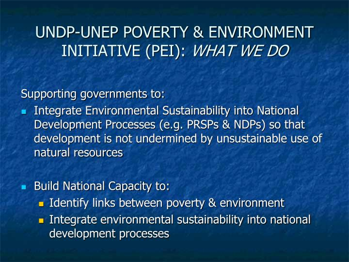 Undp unep poverty environment initiative pei what we do l.jpg