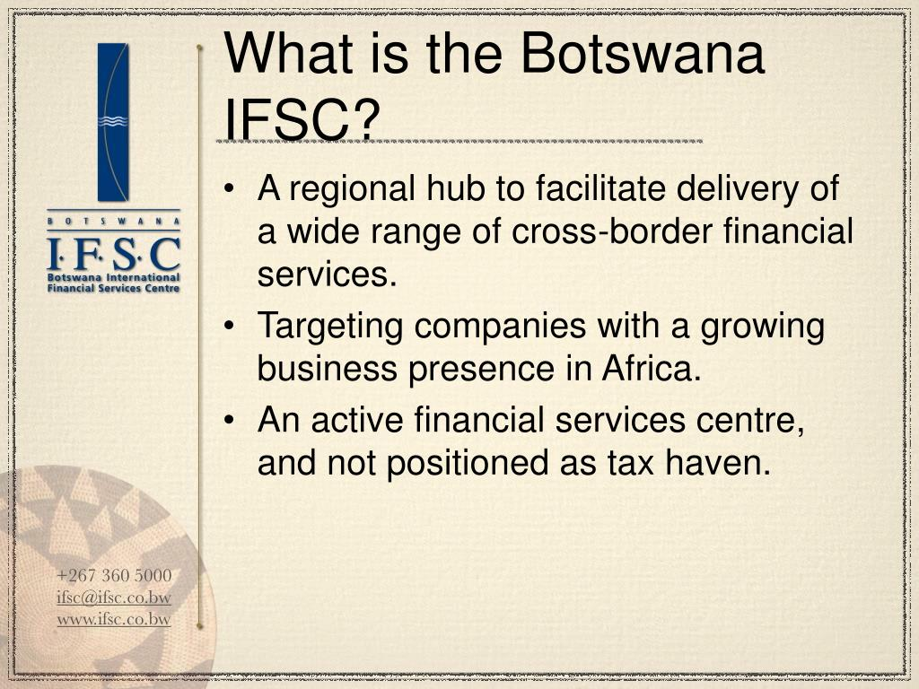 What is the Botswana IFSC?