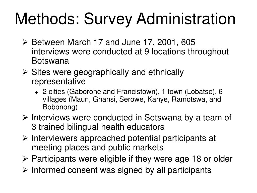 Methods: Survey Administration