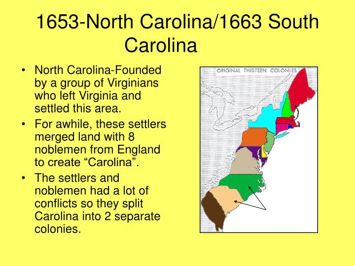 1653-North Carolina/1663 South Carolina