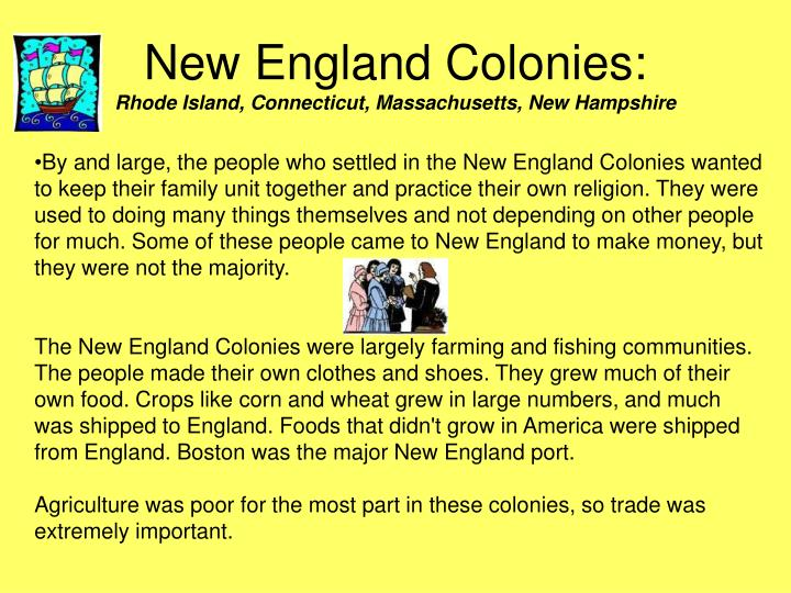 New England Colonies: