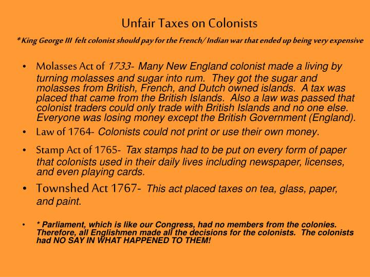 Unfair Taxes on Colonists