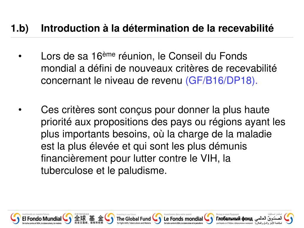 1.b)Introduction à la détermination de la recevabilité