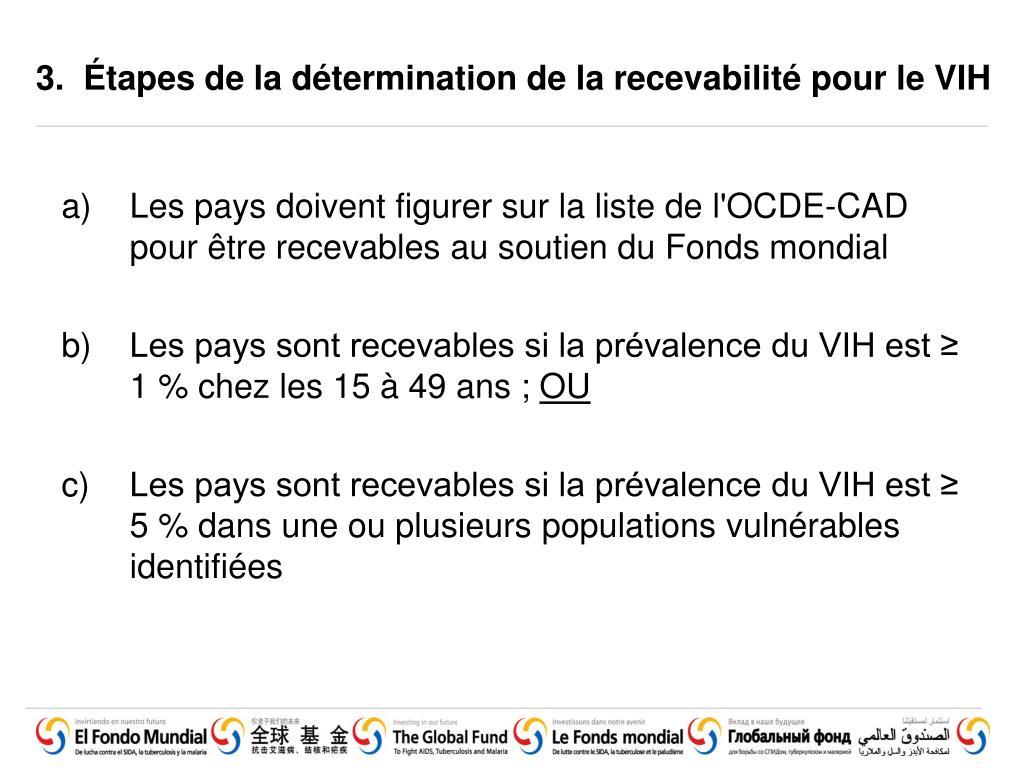 3.  Étapes de la détermination de la recevabilité pour le VIH
