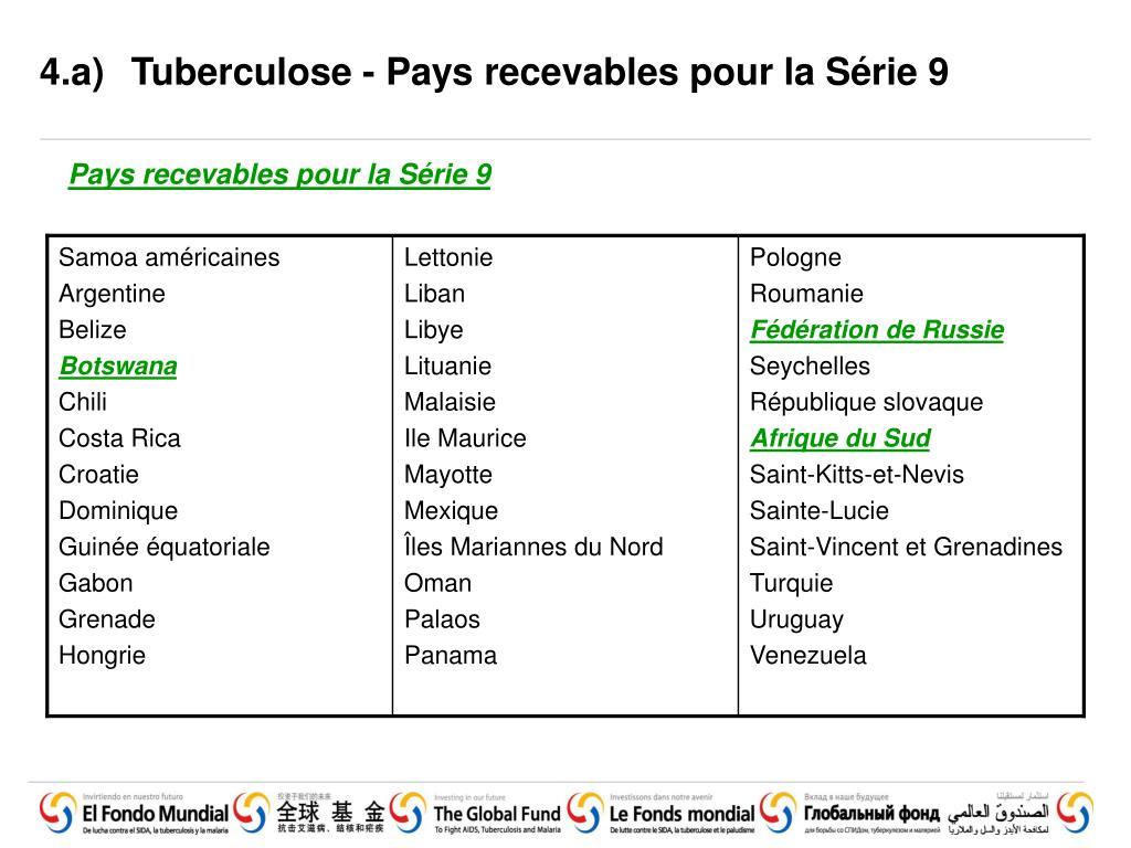 4.a)Tuberculose - Pays recevables pour la Série 9
