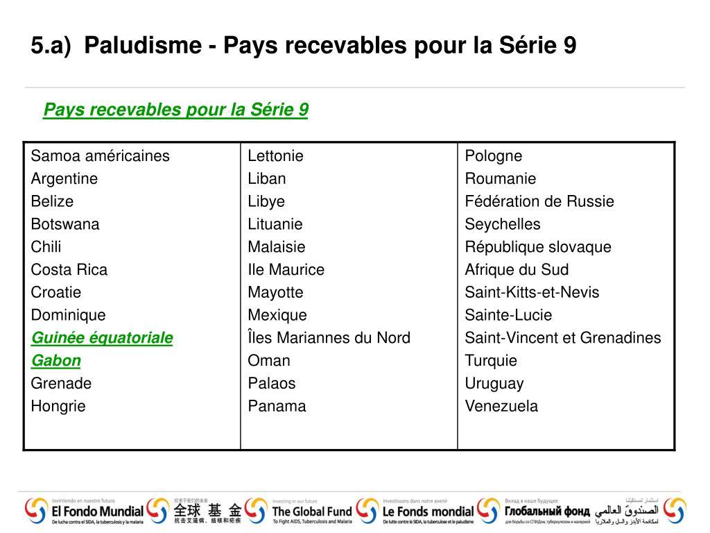 5.a)Paludisme - Pays recevables pour la Série 9