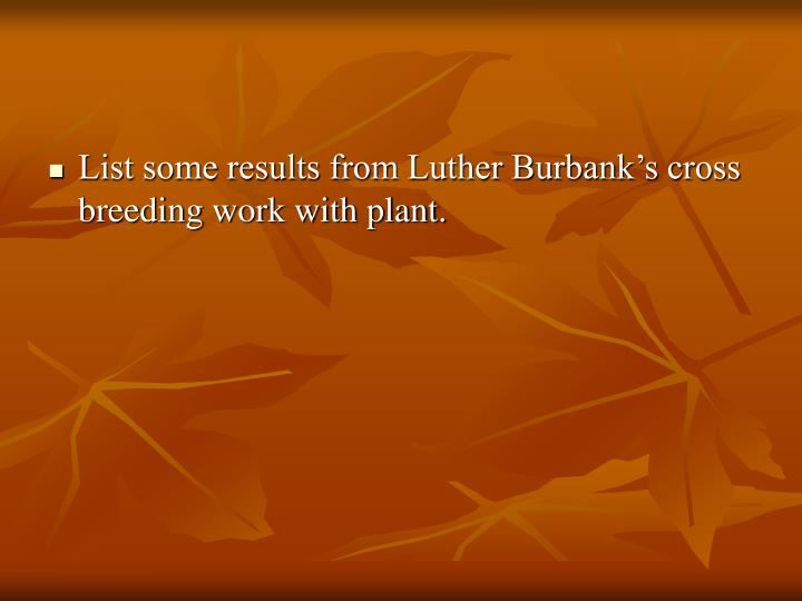List some results from Luther Burbank's cross breeding work with plant.
