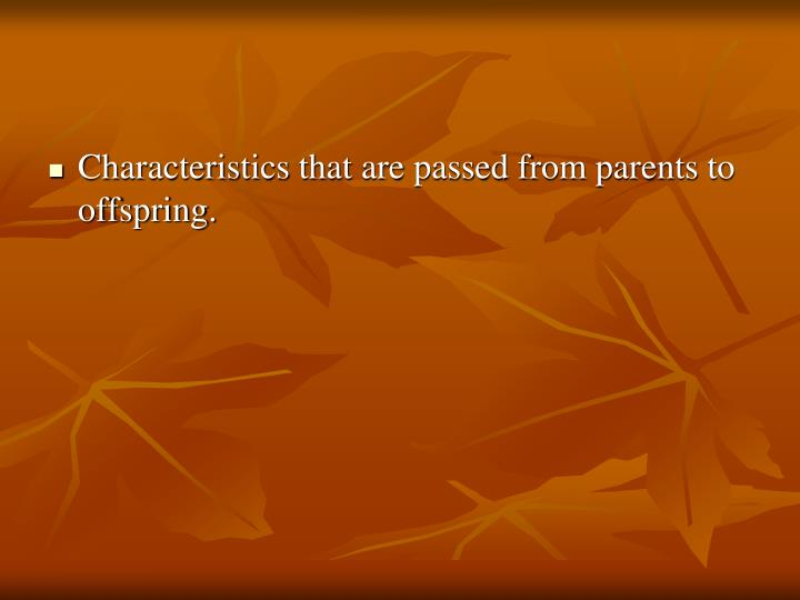 Characteristics that are passed from parents to offspring.