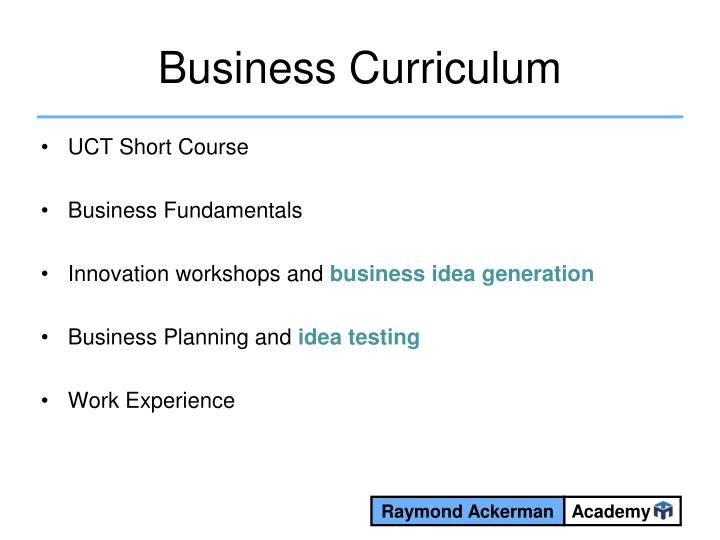 Business Curriculum