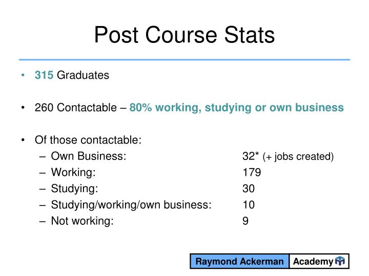Post Course Stats