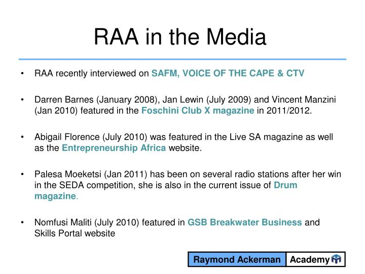 RAA in the Media