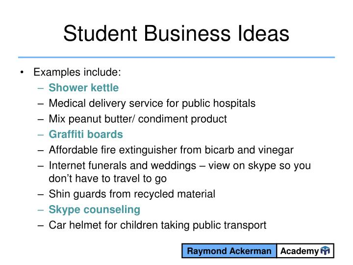 Student Business Ideas