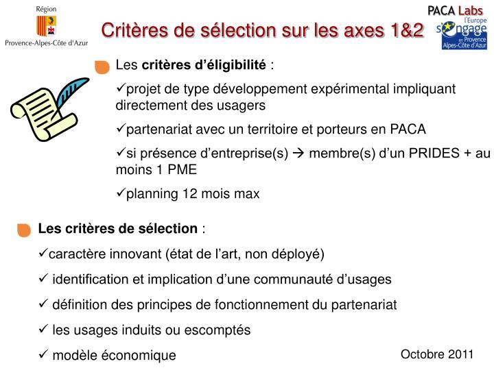 Critères de sélection sur les axes 1&2
