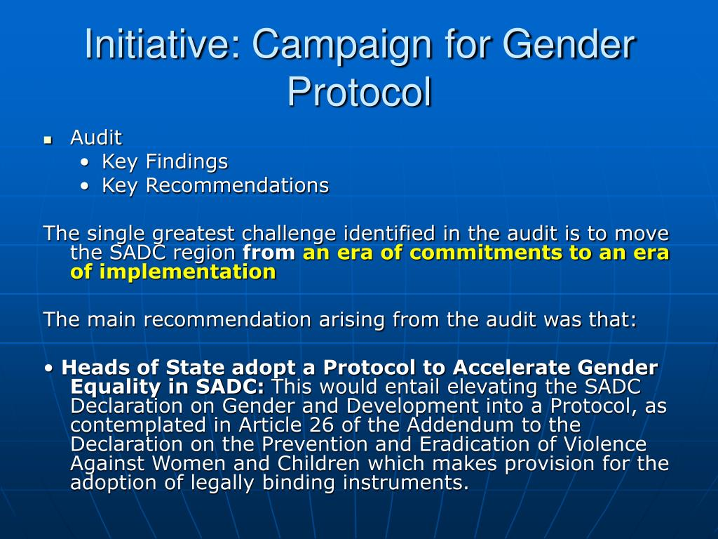 Initiative: Campaign for Gender Protocol