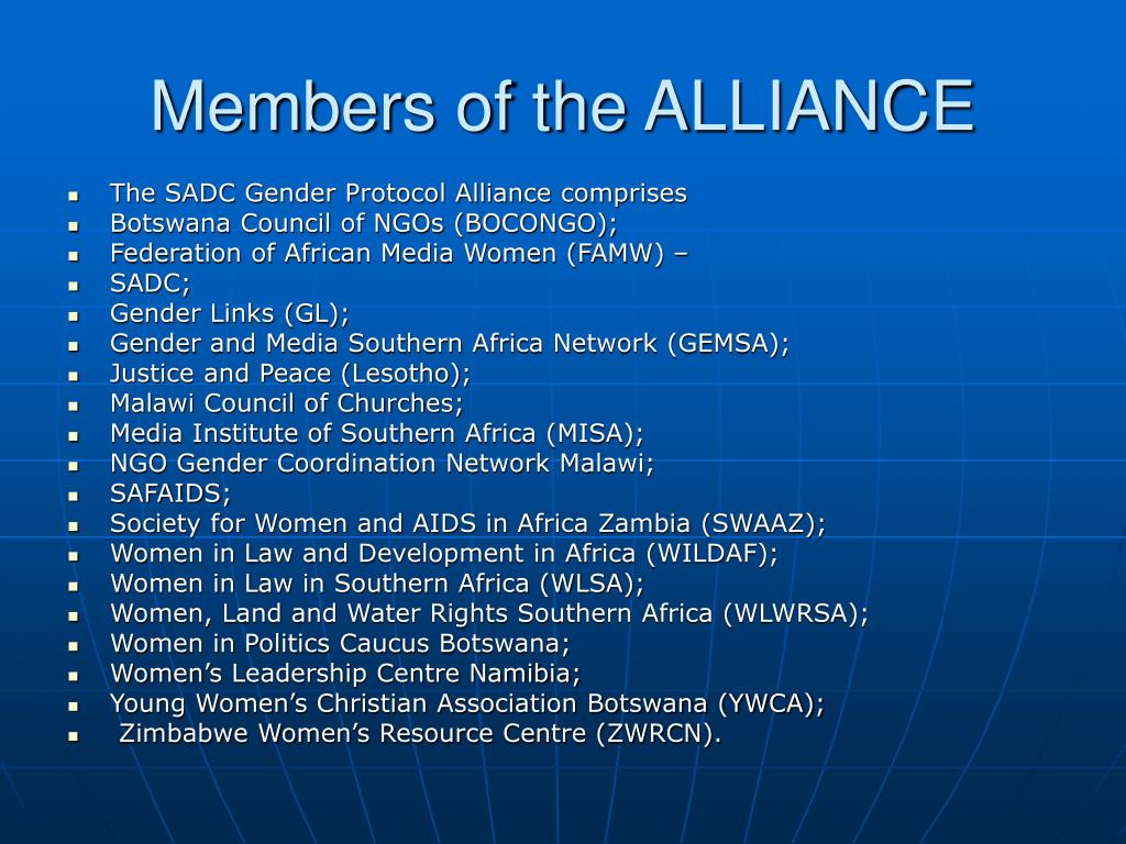 Members of the ALLIANCE