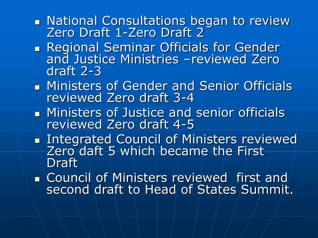 National Consultations began to review Zero Draft 1-Zero Draft 2