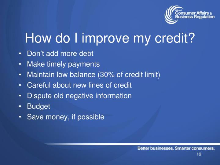 How do I improve my credit?