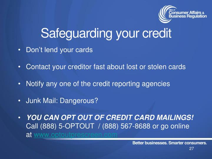 Safeguarding your credit