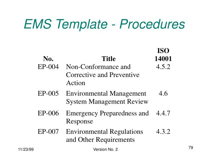 EMS Template - Procedures