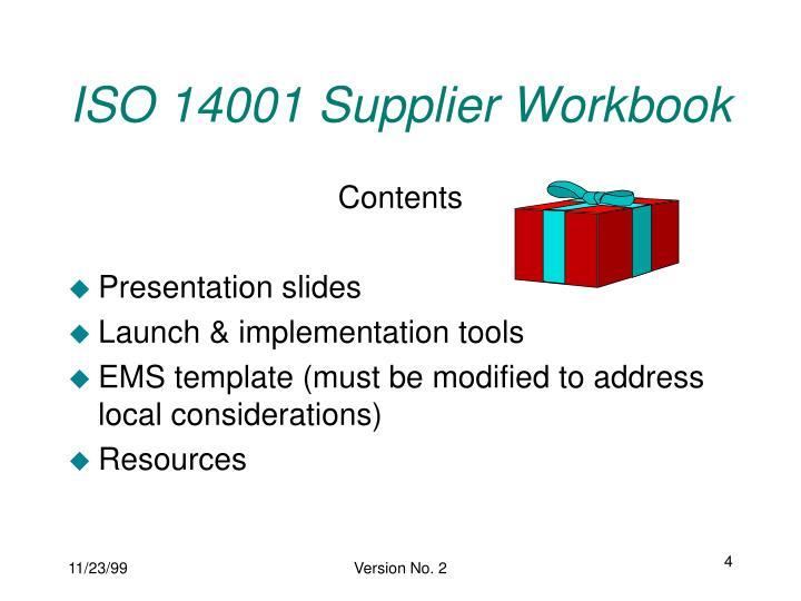 ISO 14001 Supplier Workbook
