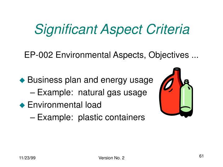 Significant Aspect Criteria
