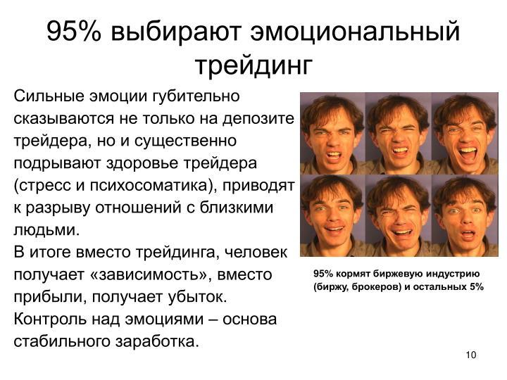 95% выбирают эмоциональный трейдинг