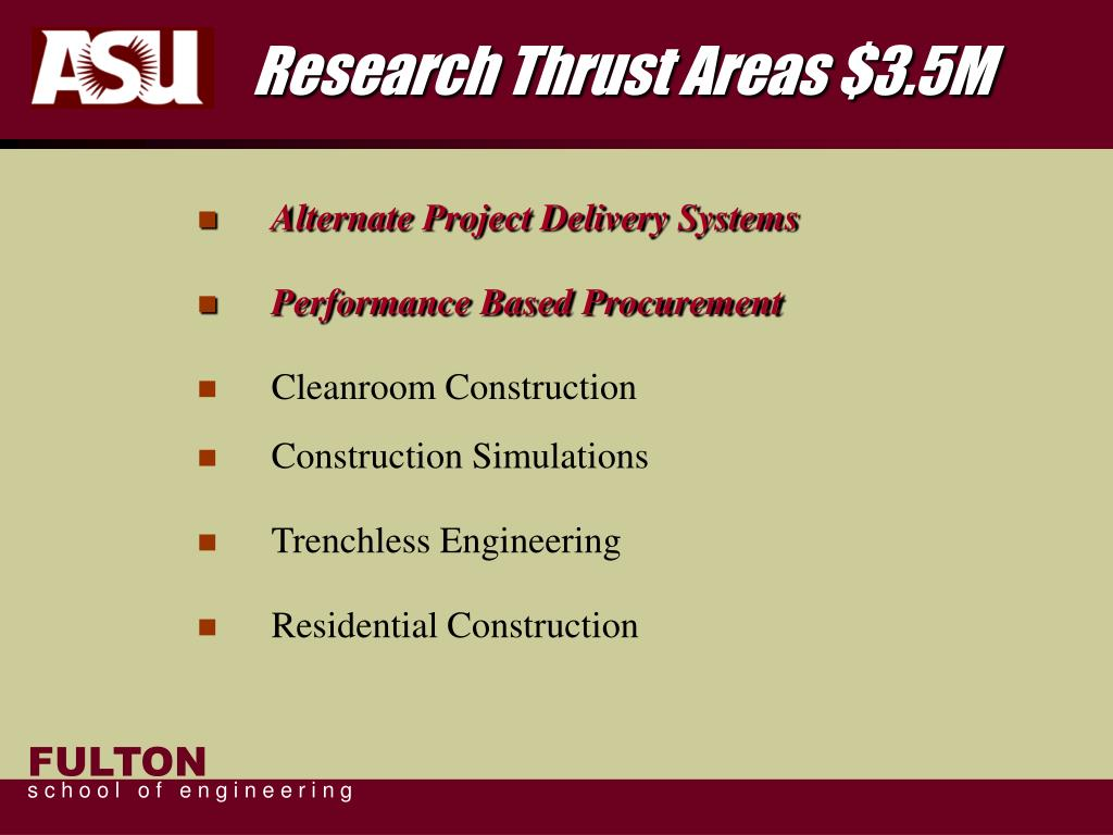 Research Thrust Areas $3.5M