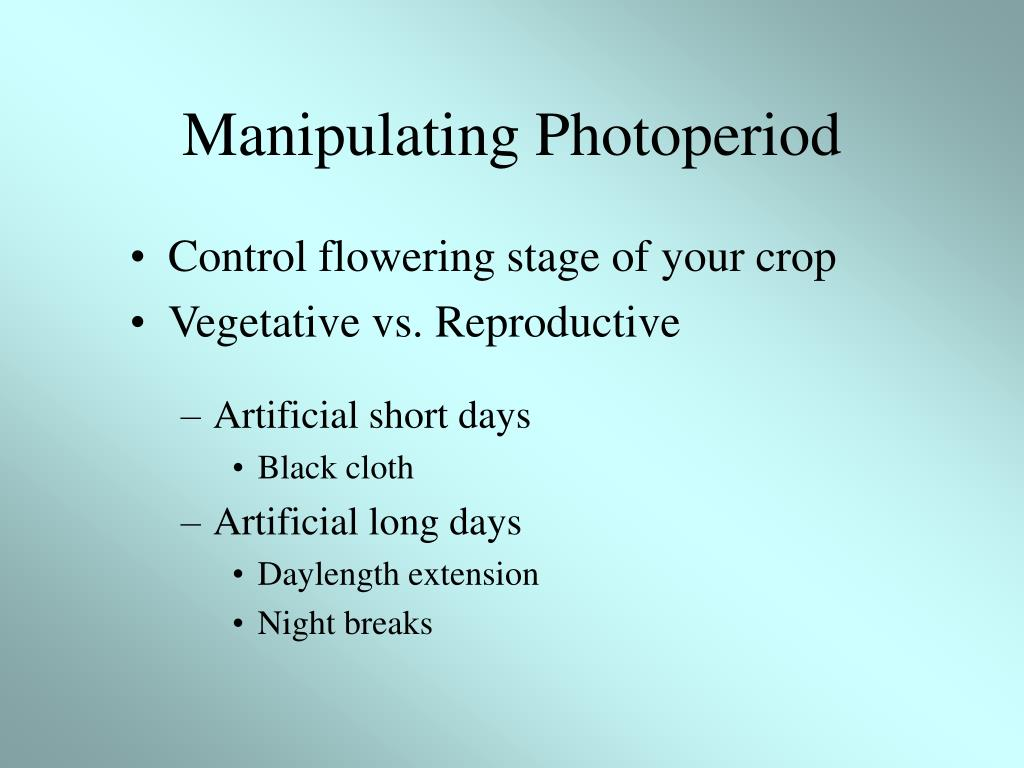 Manipulating Photoperiod