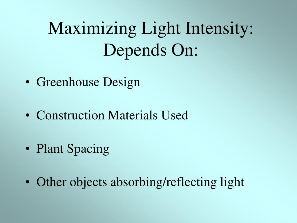 Maximizing Light Intensity: