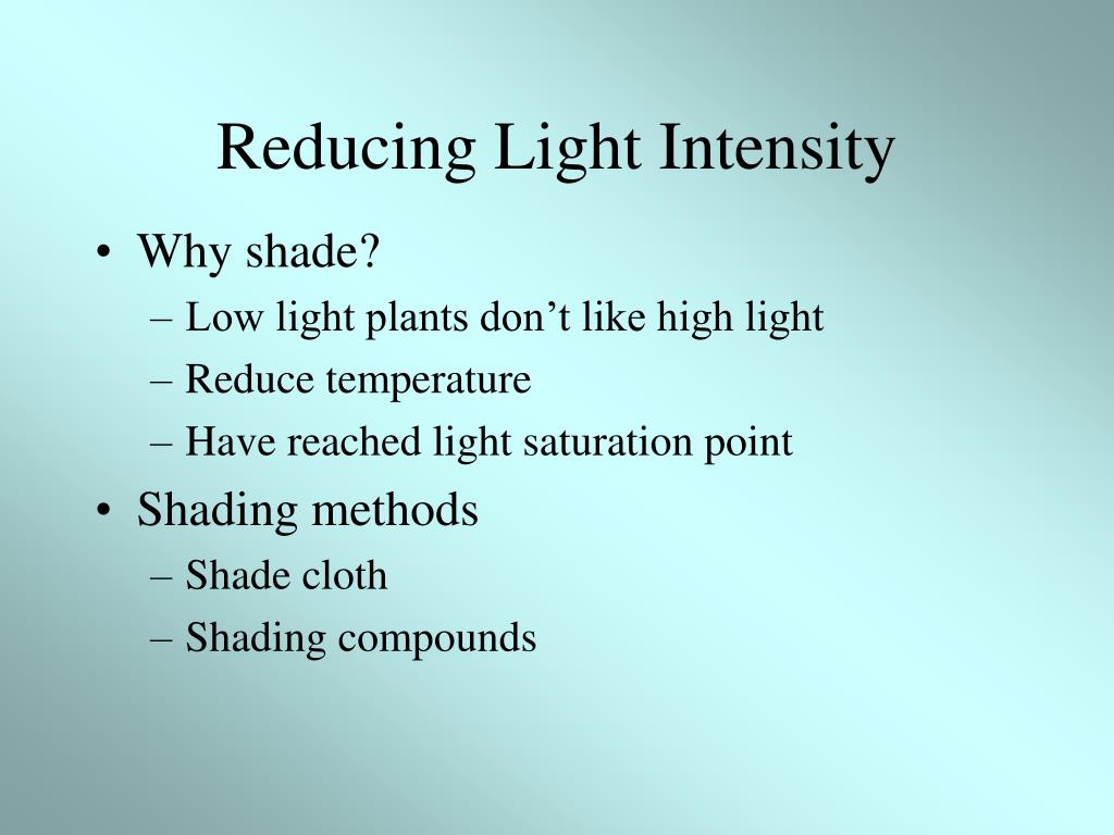 Reducing Light Intensity
