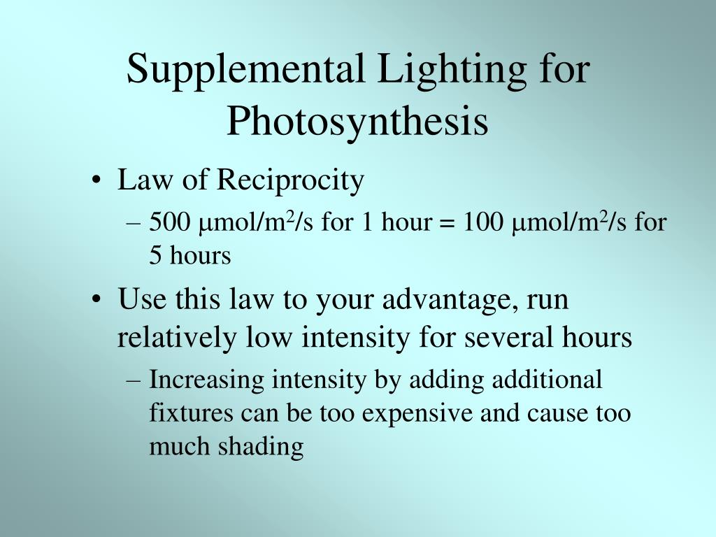 Supplemental Lighting for Photosynthesis