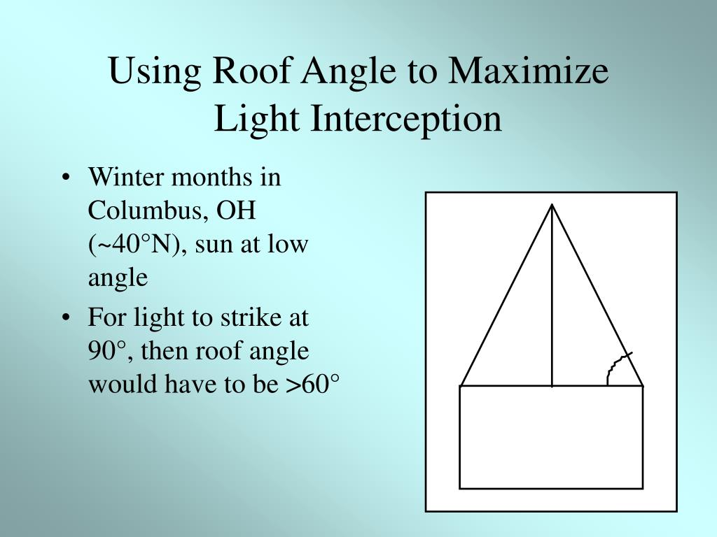 Using Roof Angle to Maximize Light Interception